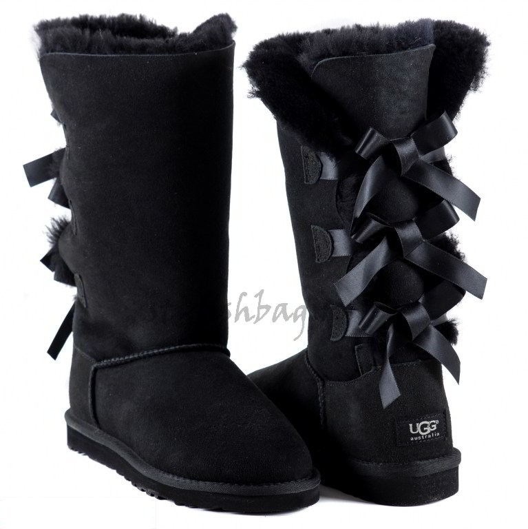 Женские угги UGG Bailey Bow Tall Black
