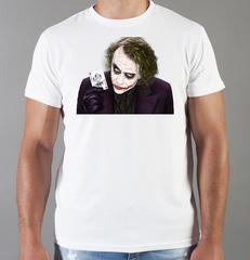 Футболка с принтом Джокер, Тёмный рыцарь (Joker, The Dark Knight, Хит Леджер) белая 0050