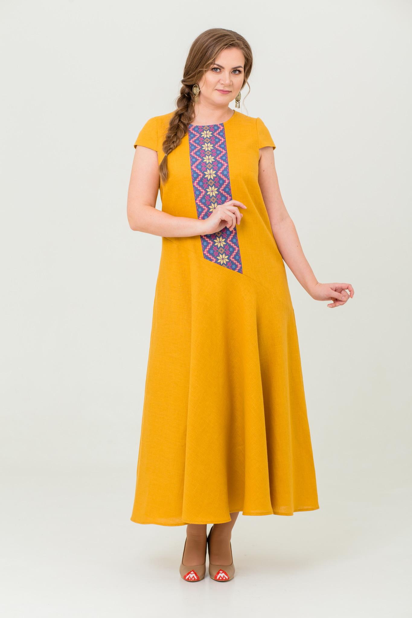 Платье льняное Птица счастья с обережным орнаментом