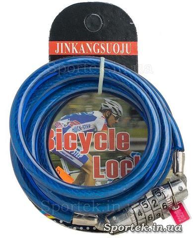Велозамок з кодом на сталевому тросі 6 х 1130 мм з синім вініловим покриттям