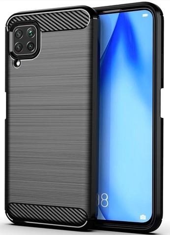 Чехол черного цвета для Huawei P40 Lite, серии Carbon (карбон стиль) от Caseport
