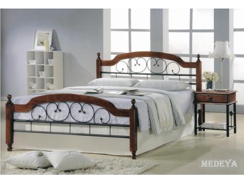 Кровать МЕДЕЯ двуспальная металлическая с деревянными ножками 160х200 темный орех