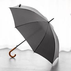 Элегантный зонт трость с деревянной ручкой - крюком, 8 спиц OLYCAT (серый)