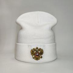 Вязаная шапка с эмблемой герба России (Russia) белая