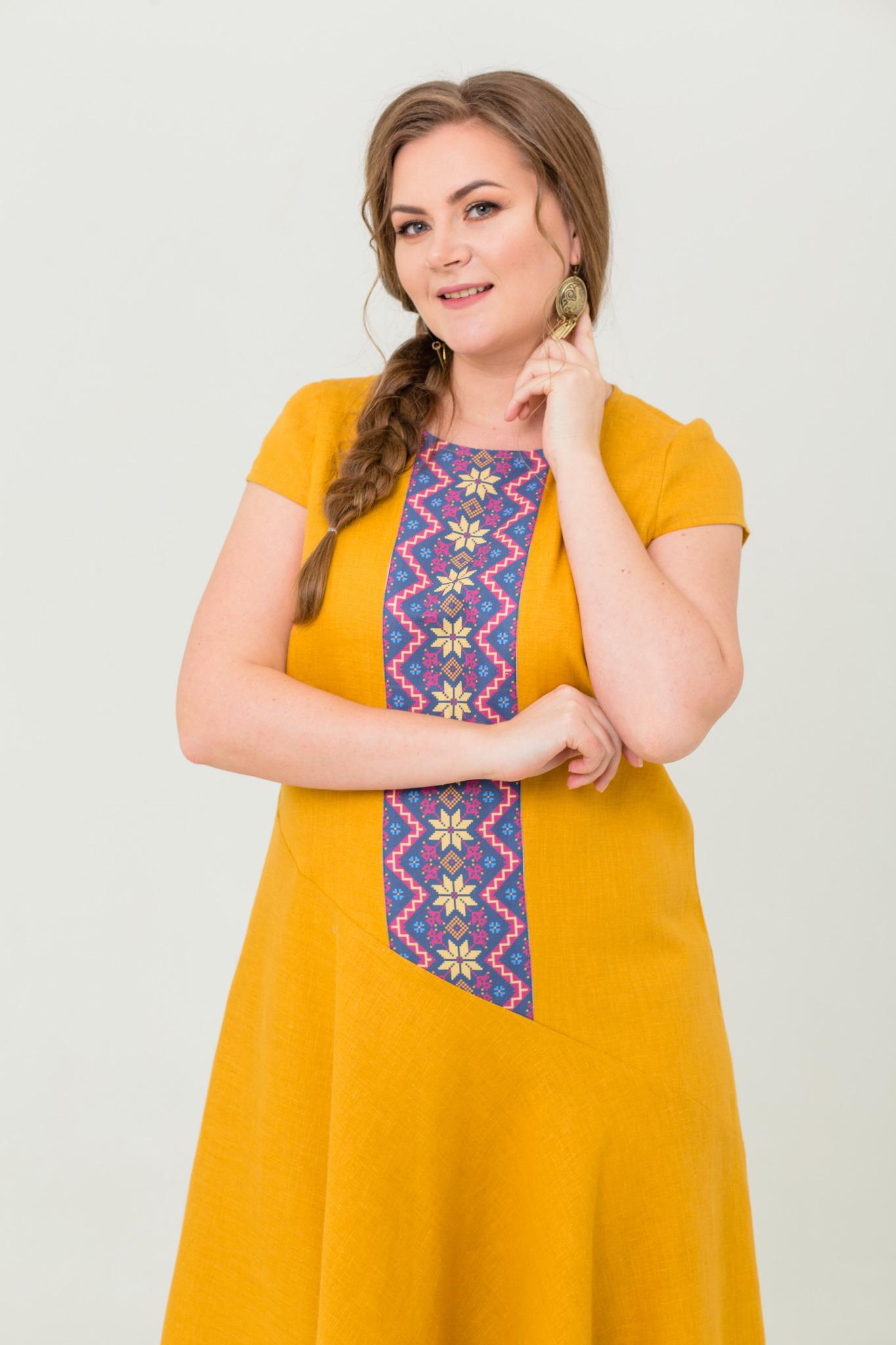 Платье льняное Птица счастья со славянским орнаментом