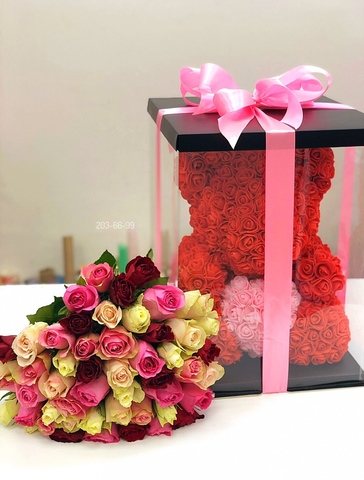 51 роза и Мишка из роз 40 см в подарочной коробке #12528
