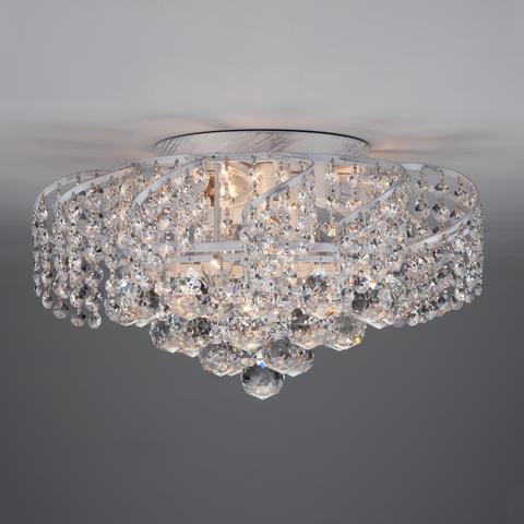 Потолочная люстра с хрусталем 16017/6 белый с серебром