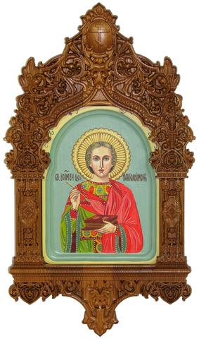 Рукописная икона Святой Великомученик и Целитель Пантелеймон на кипарисе 20х15см в резном киоте