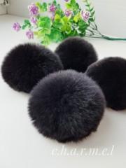 Помпон из натурального меха, Кролик, 5-6 см, цвет Чёрный, 2 штуки