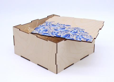 Коробка фанерная с печатью, симпл, 20*20*10 см