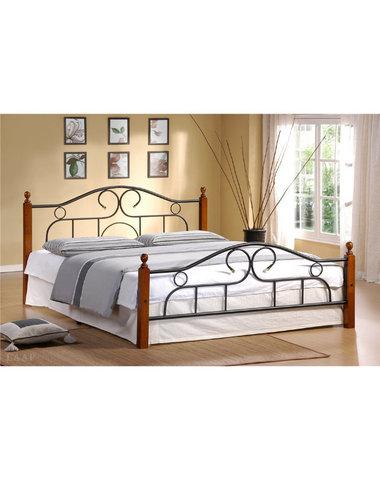 Кровать мод. 808 Alexa двуспальная металлическая с деревянными ножками 160х200 темный дуб