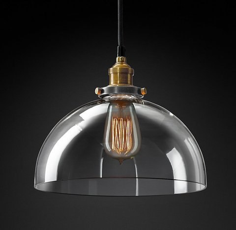 Подвесной светильник копия 20th C. Factory Filament Clear Glass Dome Pendant by Restoration Hardware
