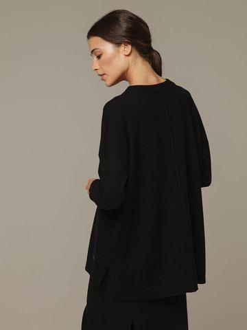 Женский джемпер черного цвета свободного кроя из шерсти и кашемира - фото 3
