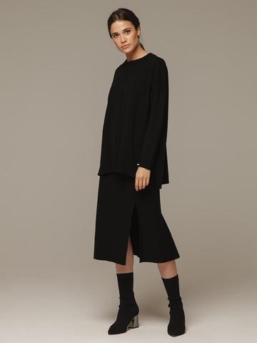 Женский джемпер черного цвета свободного кроя из шерсти и кашемира - фото 2