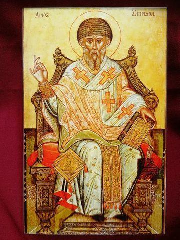 Икона святой Спиридон Тримифунтский на дереве на левкасе мастерская Иконный Дом