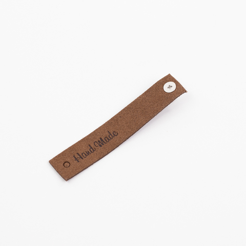 "Бирка на кнопке  ""Hand Made"" N5 темно-коричневая"