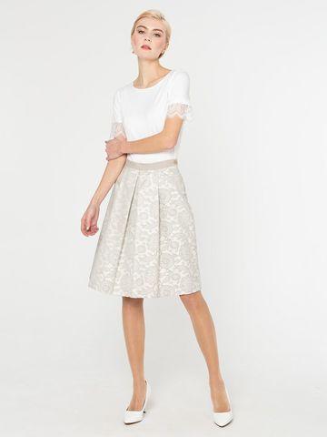 Фото белая хлопковая юбка со складками и боковыми карманами - Юбка Б083-582 (1)