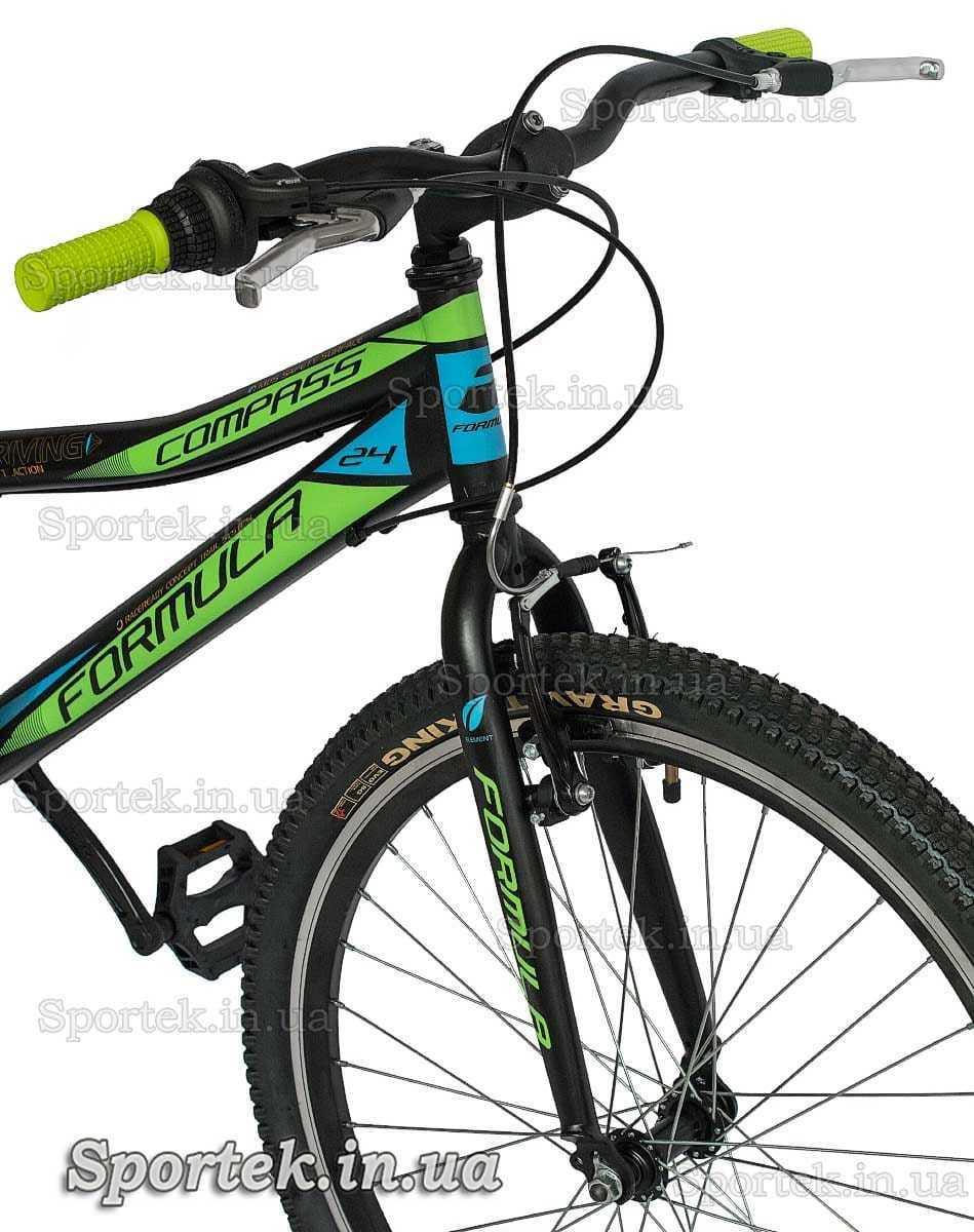 Руль и вилка горного универсального подросткового велосипеда Формула Компас ДД