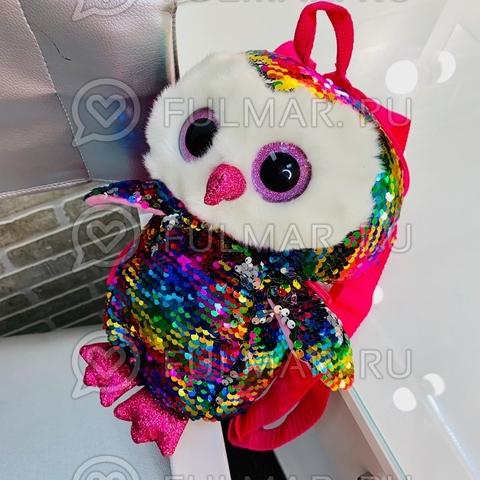 Рюкзак-Сова маленький детский в пайетках меняет Цвет Радужный-Серебристый 30х14х10 см