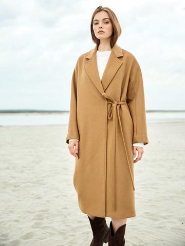 Пальто на завязках из шерсти и кашемира Кэмел