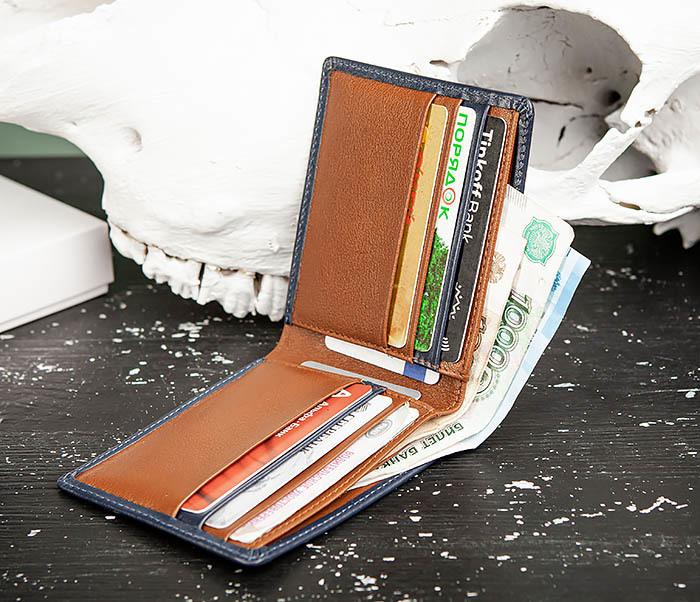 WL320-3 Классический кошелек для купюр и карт из синей кожи, «Moriz» фото 10