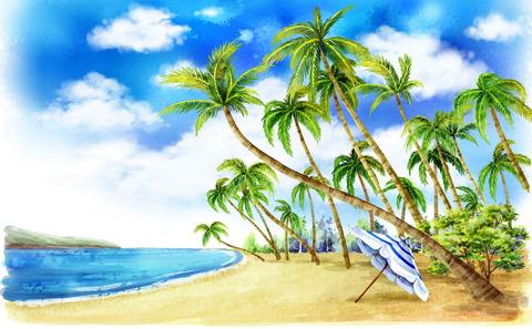 Алмазная Мозаика + Багет 40x50 Зонт под пальмами