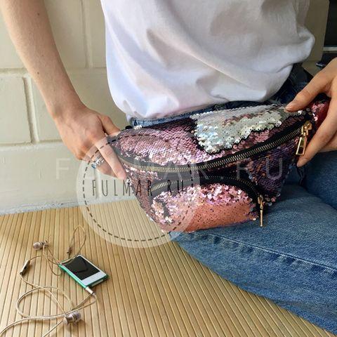Сумка на пояс женская с пайетками меняющая цвет Розовый-Серебристый