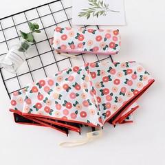 Японский маленький плоский зонт с защитой от солнца белый с цветами