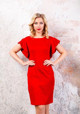 Фото красное платье-футляр с широкими рукавами и застежкой на молнии - Платье З246-150 (1)