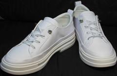 Летние кожаные туфли как кроссовки El Passo sy9002-2 Sport White.