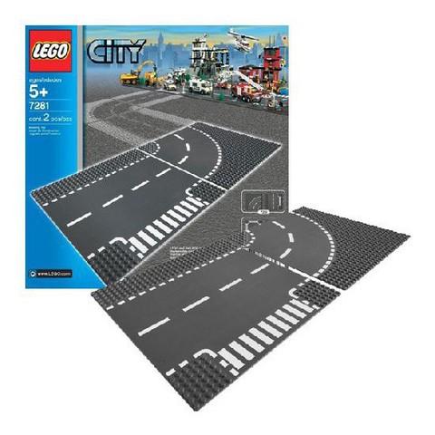 LEGO City: Т-образный перекрёсток и поворот 7281 — T-Junction & Curved Road Plates — Лего Сити Город