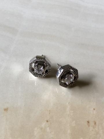 Серьги многоугольники из серебра с джевалитами