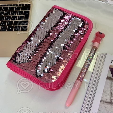 Пенал двухсекционный с пайетками на молнии для девочек меняет цвет Розовый-Серебристый F57-2285