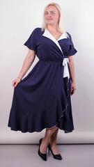 Агата. Легкое платье для больших размеров. Горохи.