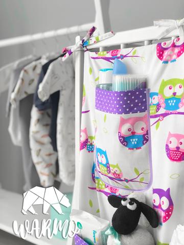 органайзер на дитяче ліжечко з фіолетовими совами фото