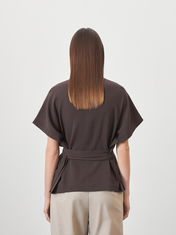 Блуза Ella с боковыми поясами, Коричневый