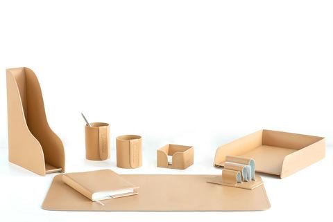 Настольный офисный набор 8 предметов из кожи, цвет натуральный