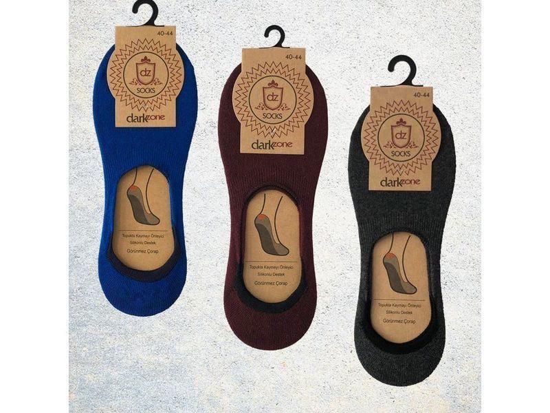 Носки-невидимки мужские - набор из 3 пар (бордовые, синие, темно-серые) DARKZONE DZCP3008