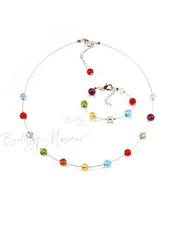 Комплект Estate серебристый (ожерелье короткое, браслет)