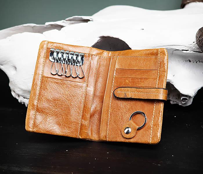 WL245-3 Мужское портмоне из натуральной кожи с ключницей, помещается техпаспорт фото 04