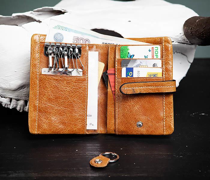 WL245-3 Мужское портмоне из натуральной кожи с ключницей, помещается техпаспорт фото 05