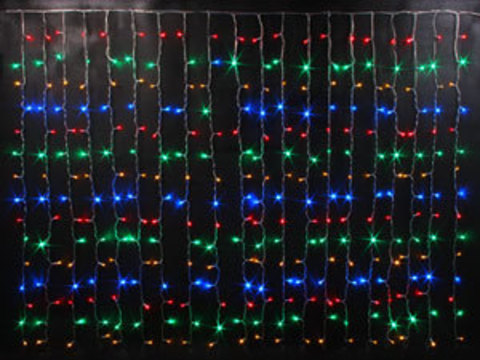 Гирлянда светодиодный занавес 2,5*2, с контроллером, цвет Мульти, провод прозрачный