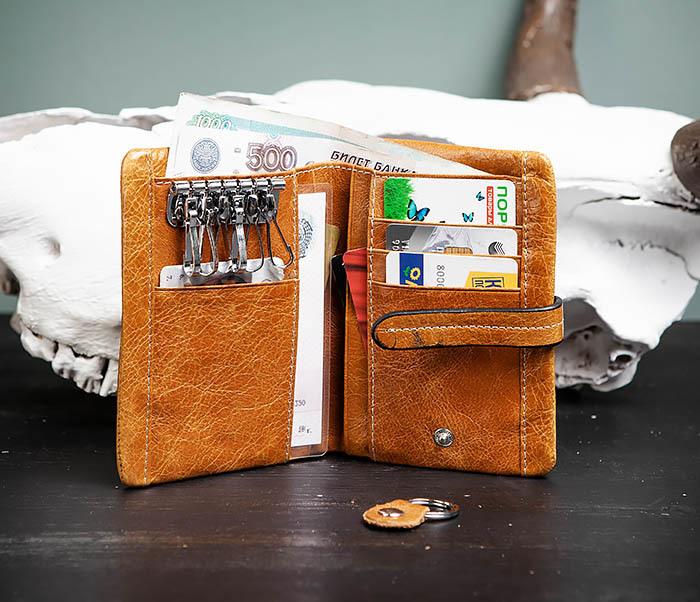 WL245-3 Мужское портмоне из натуральной кожи с ключницей, помещается техпаспорт фото 06