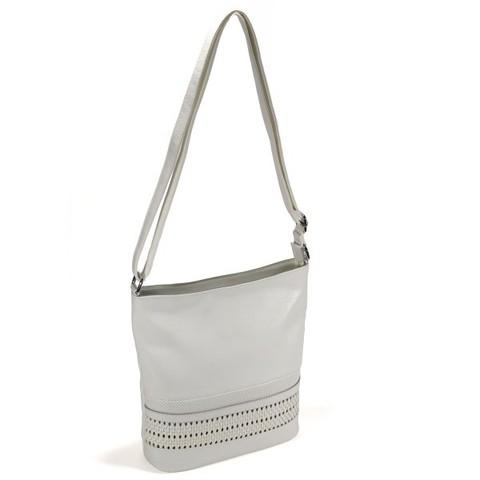 Белая сумка с декоративной вставкой