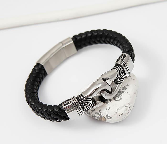 Фото - Массивный мужской браслет из плетеной кожи и стали (20 см) мужской браслет из кожи со стальной проволокой 20 см