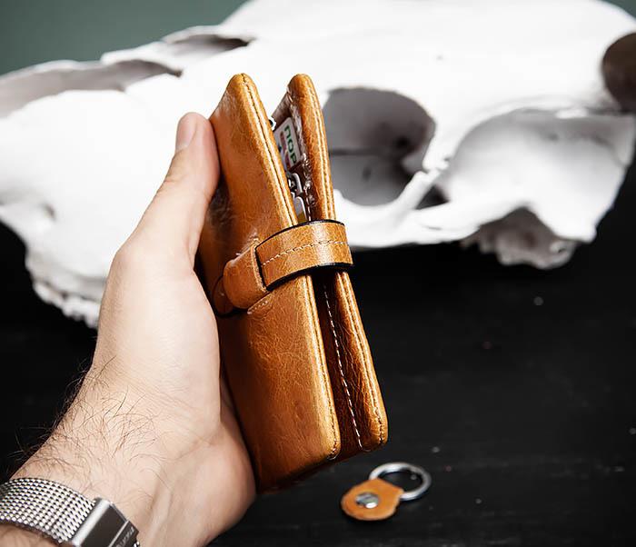 WL245-3 Мужское портмоне из натуральной кожи с ключницей, помещается техпаспорт фото 08