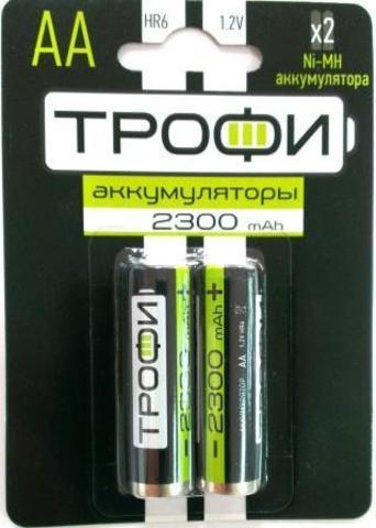 Аккумуляторная батарея ТРОФИ HR6-2BL к-т 2шт, 2300 mAh