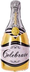 Шар с клапаном (14''/36 см) Мини-фигура, Бутылка, Шампанское вино, Золото, 5 шт.