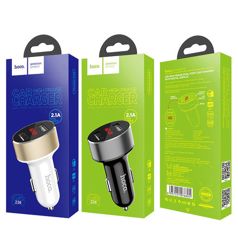 Z26 high praise dual port car charger with digital display