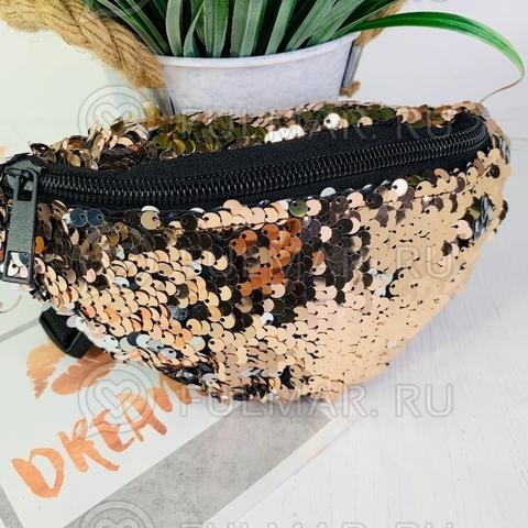 Маленькая поясная сумка в пайетках меняет цвет Бежевая-Серебристая